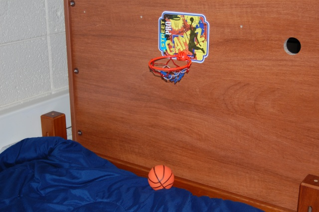 Mini hoop in my college dorm room. Photo by Katelyn Avery.